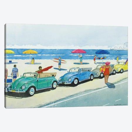 Retro Beetle Beach Canvas Print #CCL28} by Cory Clifford Art Print