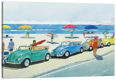 Retro Beetle Beach Canvas Art Print