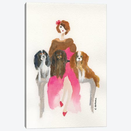 Cavalier Lady In Pink Canvas Print #CCM10} by Connie Collum Art Print