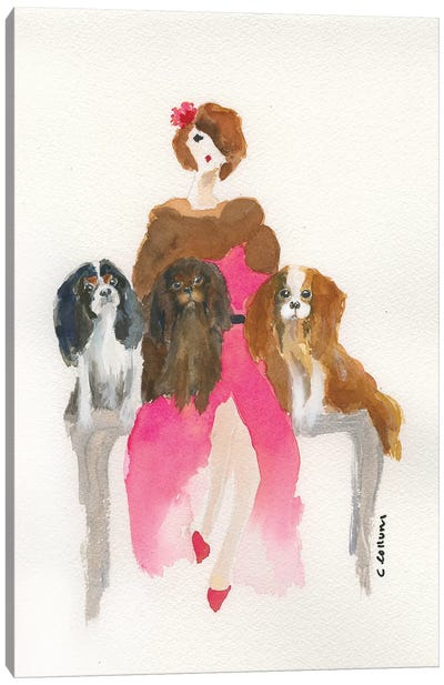 Cavalier Lady In Pink Canvas Art Print