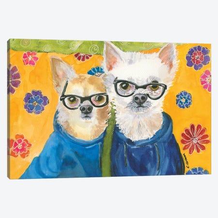 Chihuahuas In Blue Canvas Print #CCM13} by Connie Collum Art Print