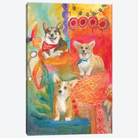 Corgis Love To Have Fun 3-Piece Canvas #CCM14} by Connie Collum Canvas Wall Art