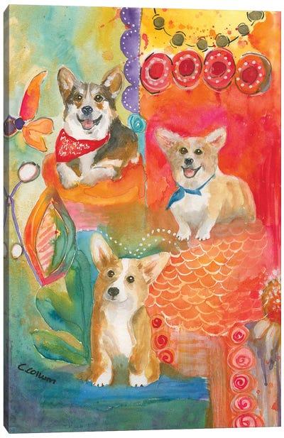 Corgis Love To Have Fun Canvas Art Print