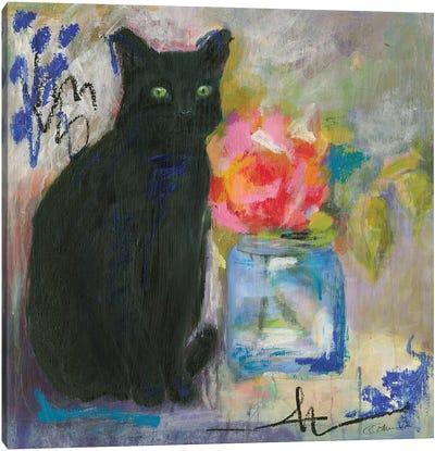 Just Love A Black Cat Canvas Art Print
