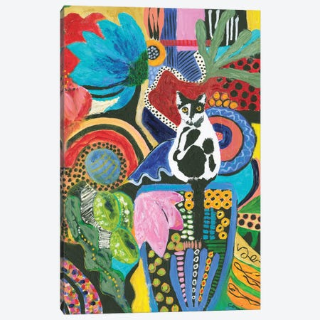 Moo Cat Mingle Canvas Print #CCM38} by Connie Collum Art Print