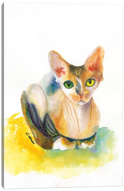 Sphynx On Yellow Pillow Canvas Art Print