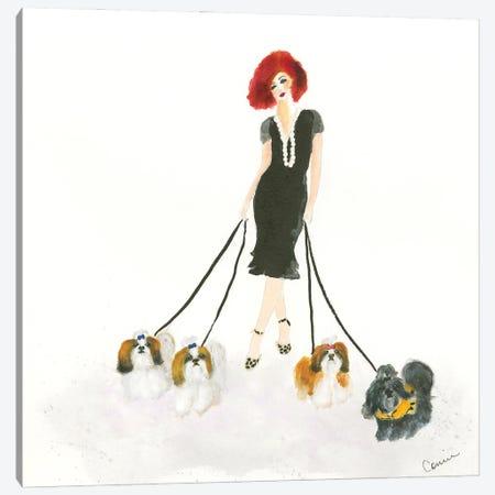 Shih Tzu Stroll Canvas Print #CCM67} by Connie Collum Art Print