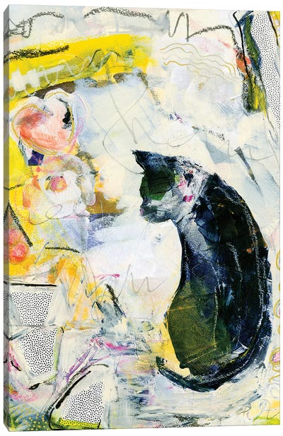 Black Cat In Abstract Canvas Art Print
