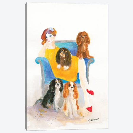 Cavalier Lady In Blue Chair Canvas Print #CCM9} by Connie Collum Canvas Art Print