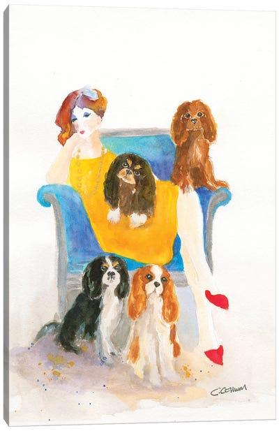 Cavalier Lady In Blue Chair Canvas Art Print