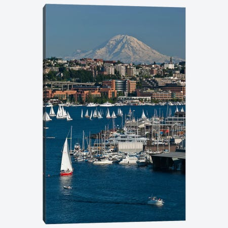 South Lake Union Neighborhood And Mount Rainier As Seen From Lake Union, Seattle, Washington, USA Canvas Print #CCR1} by Charles Crust Art Print