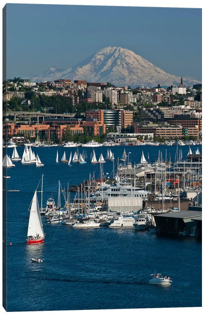 South Lake Union Neighborhood And Mount Rainier As Seen From Lake Union, Seattle, Washington, USA Canvas Art Print