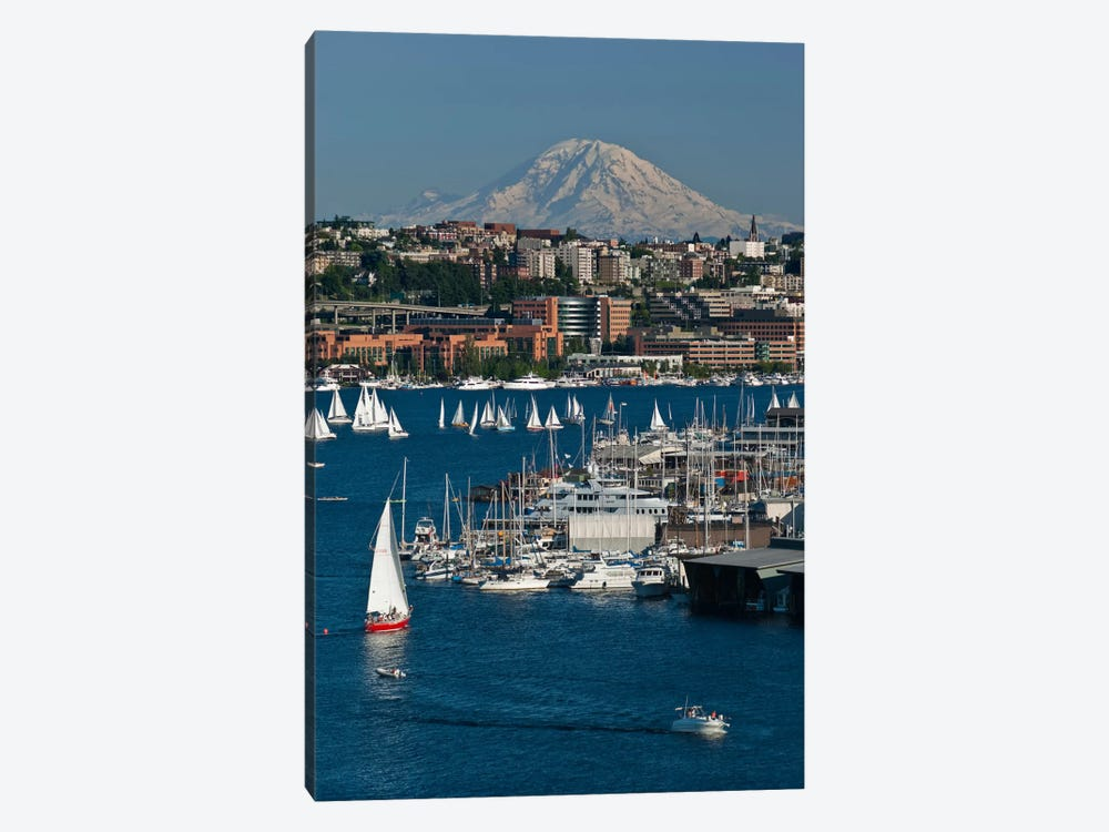 South Lake Union Neighborhood And Mount Rainier As Seen From Lake Union, Seattle, Washington, USA by Charles Crust 1-piece Canvas Artwork