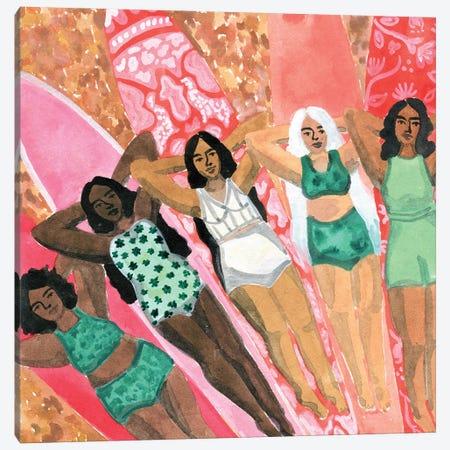 Surfer Girls Canvas Print #CCS5} by Caroline Chessia Canvas Print