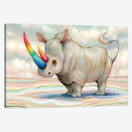 Albino Rhino Canvas Print #CDE58} by Camilla d'Errico Canvas Art