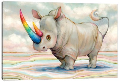 Albino Rhino Canvas Art Print