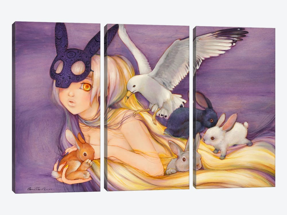 Black Rabbit Kaleidoscope by Camilla d'Errico 3-piece Canvas Art Print