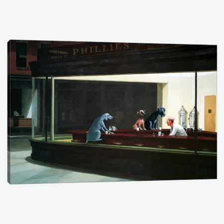 Hopper Night Hounds Canvas Print #CDI1} by Chameleon Design, Inc. Canvas Art