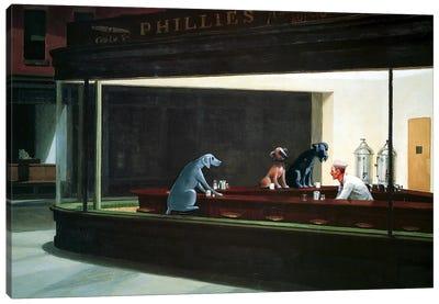 Hopper Night Hounds Canvas Art Print