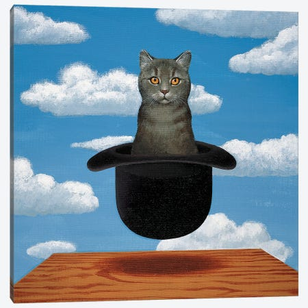Magritte Cat 3-Piece Canvas #CDI2} by Chameleon Design, Inc. Canvas Wall Art