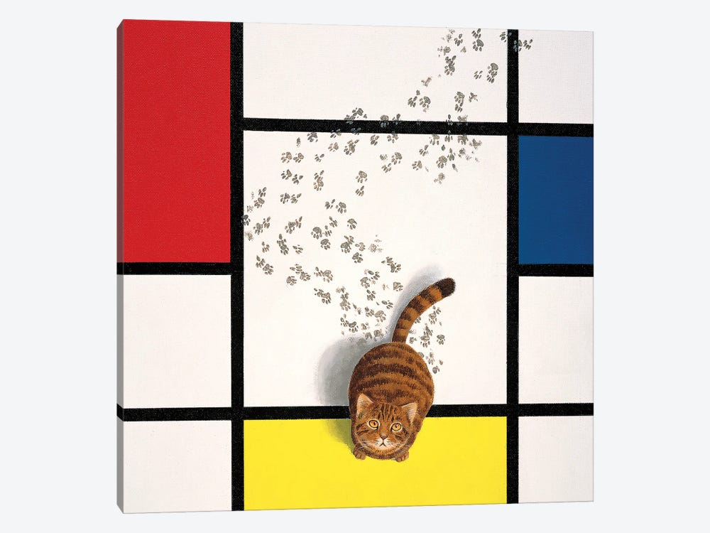 Mondrian Cat by Chameleon Design, Inc. 1-piece Canvas Art