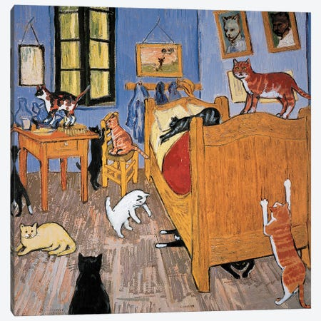 Van Gogh Arles Cat Canvas Print #CDI8} by Chameleon Design, Inc. Canvas Artwork