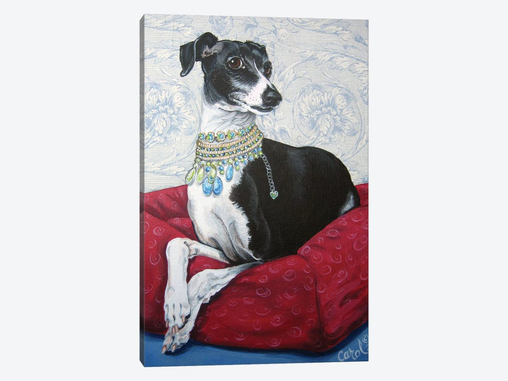 Italian Greyhound on Red by Carol Dillon 1-piece Canvas Artwork