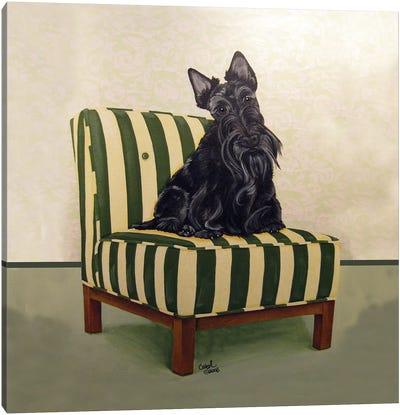Scottie on Stripes Canvas Art Print