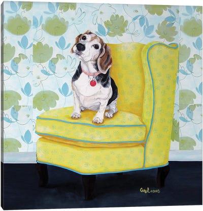 Beagle on Yellow Canvas Art Print