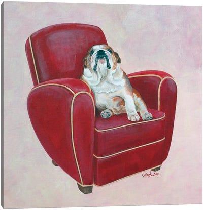 Bulldog on Red Canvas Art Print