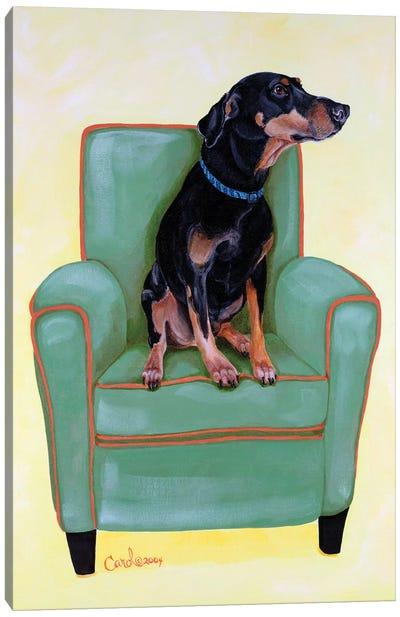 Dobie on Green Canvas Art Print