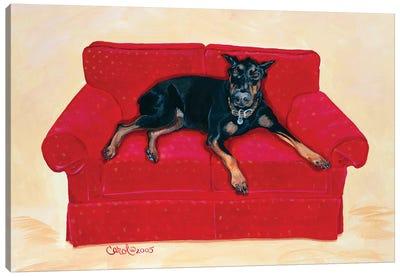 Dobie on Red Canvas Art Print