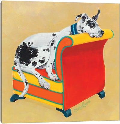 Great Dane on Orange Canvas Art Print