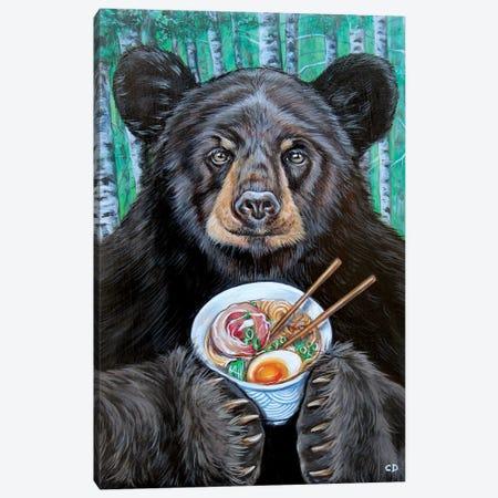 Foodie The Bear Canvas Print #CDO10} by Cyndi Dodes Canvas Wall Art