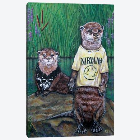 Generation X Otters Canvas Print #CDO13} by Cyndi Dodes Canvas Wall Art