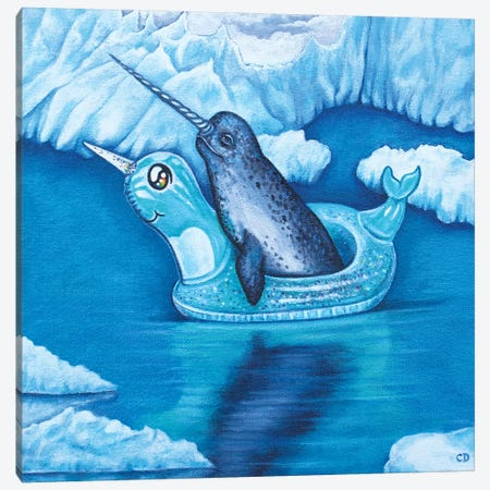 Narwhal Floating  Canvas Print #CDO20} by Cyndi Dodes Canvas Print
