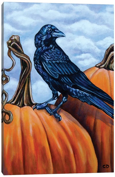 Crow With Pumpkins Canvas Art Print