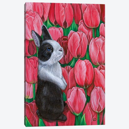 Bunny With Tulips Canvas Print #CDO42} by Cyndi Dodes Canvas Print