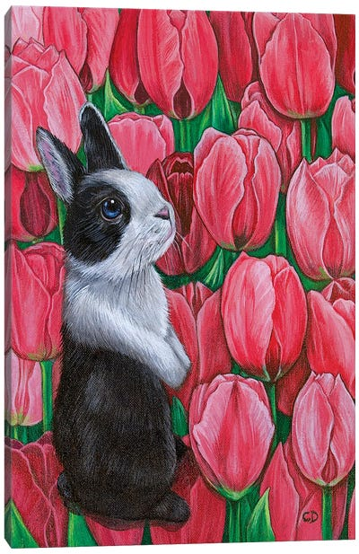 Bunny With Tulips Canvas Art Print