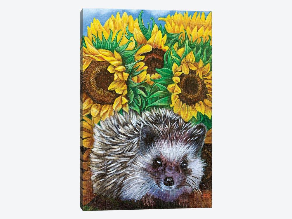 Hedgehog With Sundlowers by Cyndi Dodes 1-piece Canvas Artwork