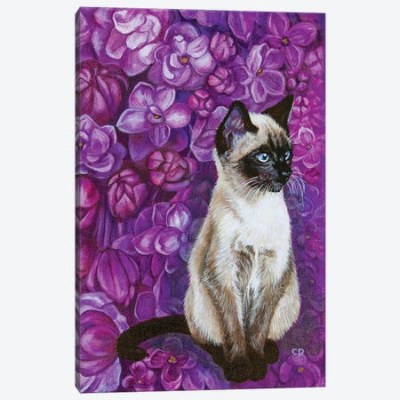 Cat With Lilacs Canvas Print #CDO44} by Cyndi Dodes Canvas Wall Art