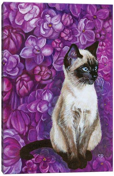 Cat With Lilacs Canvas Art Print