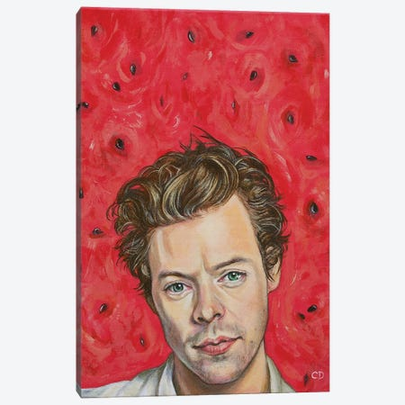 Harry Styles Portrait Canvas Print #CDO45} by Cyndi Dodes Canvas Wall Art