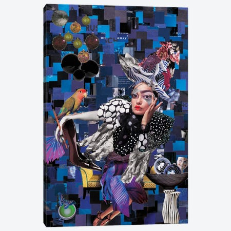 Geisha Parrot Canvas Print #CDP10} by Corentin de Penanster Canvas Print