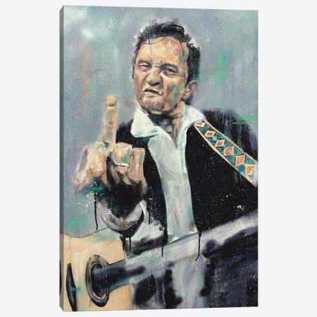 Johnny Cash Flippin Canvas Print #CDS42} by Cody Senn Canvas Print