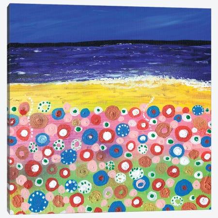 Flowers By The Beach Canvas Print #CDU16} by Caroline Duncan ART Art Print