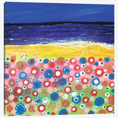 Flowers By The Beach Canvas Print #CDU16} by Caroline Duncan ART Art Print