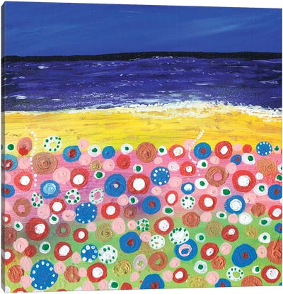 Flowers By The Beach Canvas Art Print
