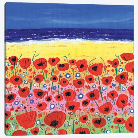 Poppies By The Beach Canvas Print #CDU32} by Caroline Duncan ART Canvas Wall Art