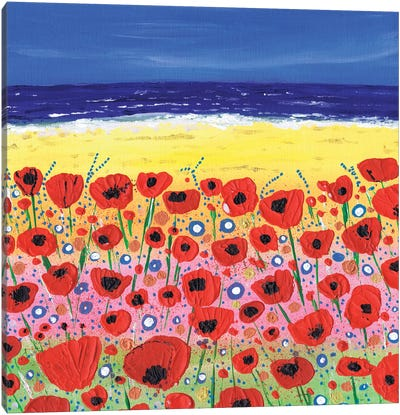 Poppies By The Beach Canvas Art Print
